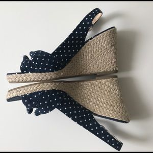 Michael Kors wedge sandals. Navy blue polka dots.